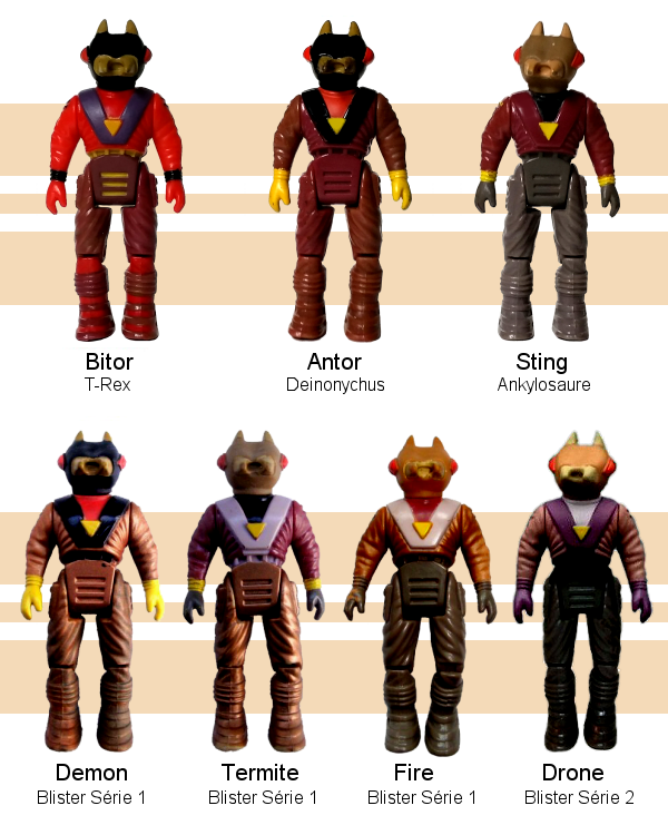 Dino-Riders Rulons : Bitor, Antor, Sting, Demon, Termite, Fire et Drone
