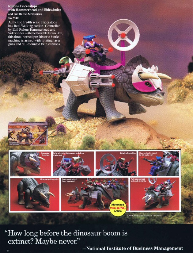 Dino-Riders - Tricératops - Catalogue Tyco printemps 1988