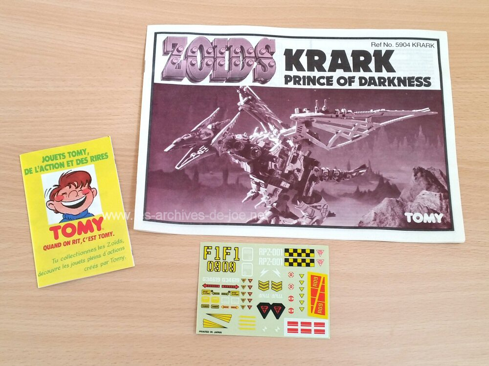 Zoids - Krark : notice, stickers, pub...